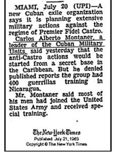 Noticia de la época donde Montaner explica sus acciones contra Cuba