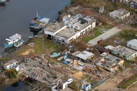 Vista aérea del desastre en la Isla de la Juventud