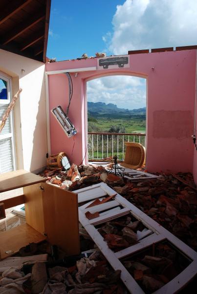 El internacionalmente conocido Hotel Los Jazmines de Viñales, sufrió en gran medida los embates del huracán Gustav