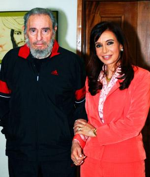 Fidel Castro y  la presidenta de Argentina Cristina Kirchner