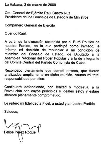 Carta de renuncia de Felipe Pérez Roque