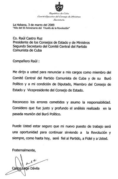 Carta de renuncia de Carlos Lage