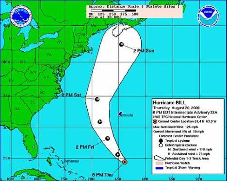 Trayectoria del huracán Bill