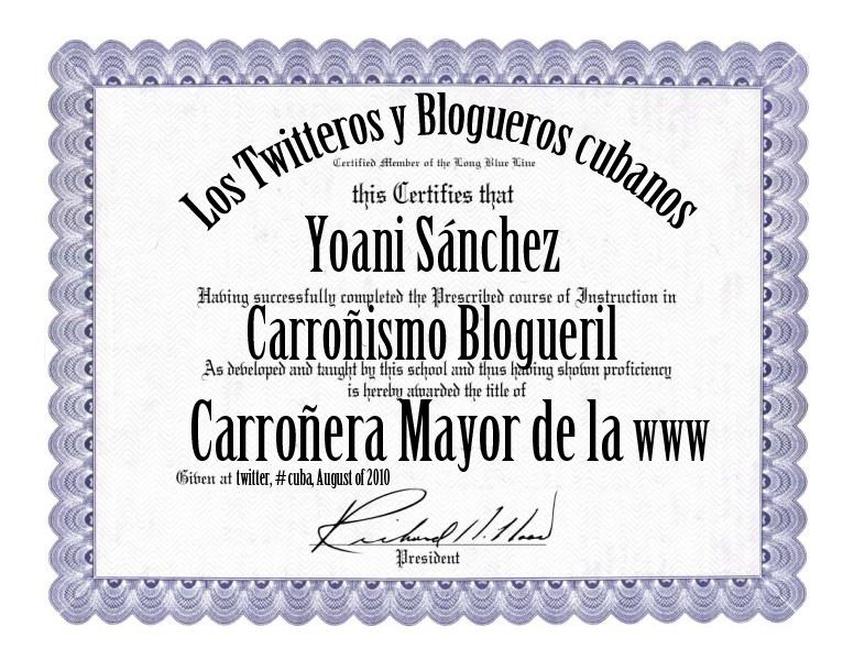 Twiteros cubanos condecoran a Yoani Sánchez con Diploma de Honor