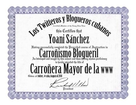 Diploma a Yoani Sánchez, la carroñera de la Red.
