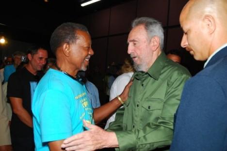 Fidel Casto  y el reverendo Lucius Walker, gran amigo de Cuba.