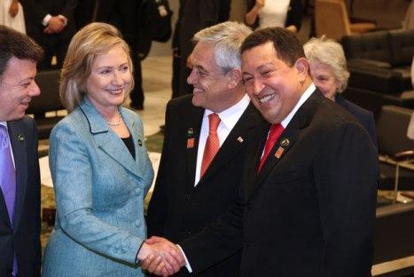 Hilaria Clinton y el Presidente Hugo Chávez en Brasil