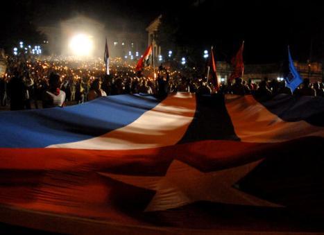Marcha de las Antorchas en  la escalinata de la Universidad de La Habana